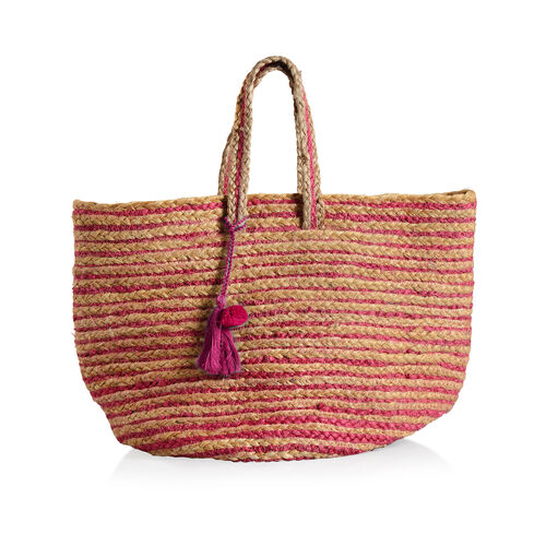 100% Natural Jute Fuchsia and Wood Colour Stripes Pattern Tote Bag 45 X 37 X 23 Cm