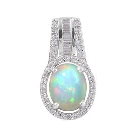 Ethiopian Welo Opal (Ovl 1.75 Ct), Natural Cambodian Zircon Pendant in Platinum Overlay Sterling Sil