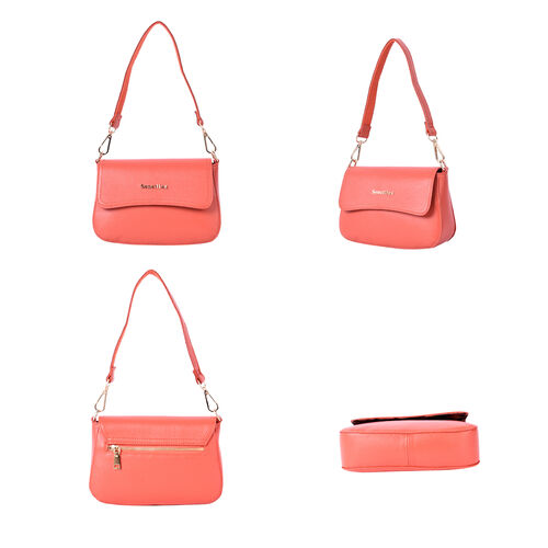 SENCILLEZ 100% Genuine Leather Crossbody Bag with Detachable Strap (Size 20x16x6cm) - Salmon