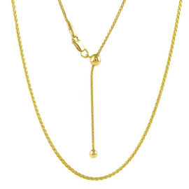 JCK Vegas Collection- Italian Made Gold Overlay Sterling Silver Adjustable Spiga  Necklace  (Size-24