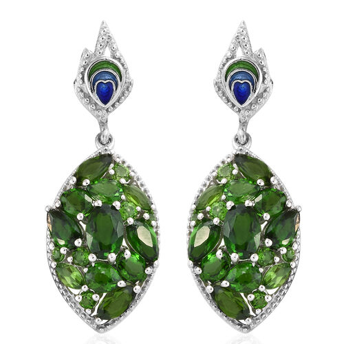 4.69 Ct Russian Diopside Dangle Earrings in Platinum plated Silver