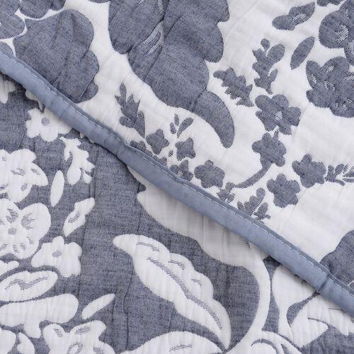 3 Piece Set -  Reversible Pique with Jacquard Floral Pattern Blue (Size 260x240 Cm) and 2 Pillow Cover (Size 70x50 Cm)