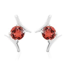 J Francis Crystal from Swarovski Padparasha Crystal Earrings in Sterling Silver