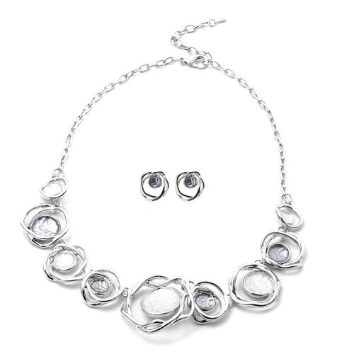 2 Piece Set - Enamelled Necklace (Size 20 with 2 inch Extender) and Earrings (with Push Back) in Sil