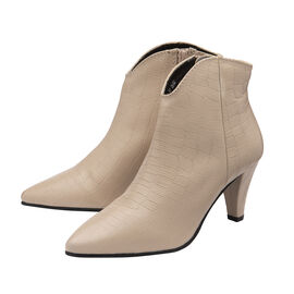 Ravel Croc-Print Levisa Leather Ankle Boots in Ivory Colour