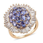 9K Yellow Gold AA Tanzanite (Ovl), Natural Cambodian Zircon Cluster Ring (Size N) 5.25 Ct.