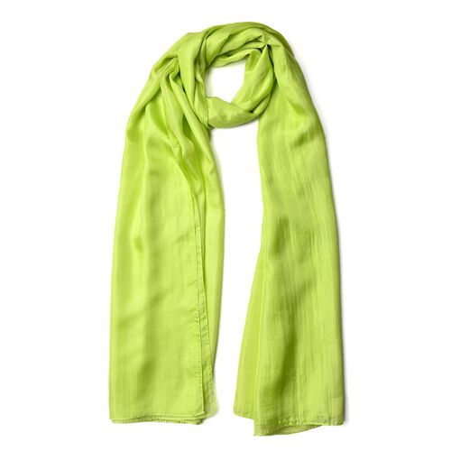 100% Mulberry Silk Light Green Colour Scarf (Size 180X100 Cm)