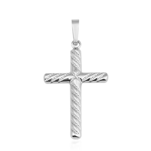Vicenza Collection Cross Pendant in 9K White Gold Spiral