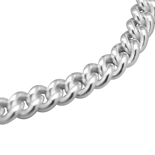 Italian Made - Sterling Silver Round Curb Bracelet (Size 7.5), SIlver wt. 6.50 Gms