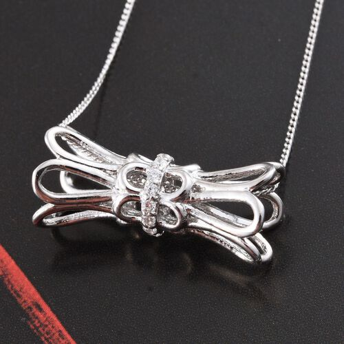 J Francis - Platinum Overlay Sterling Silver (Rnd) Bow Necklace Made with SWAROVSKI ZIRCONIA. Silver Wt 5.01 Gms
