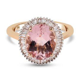 9K Rose Gold AAA Pink Morganite and Diamond Ring 3.54 Ct.
