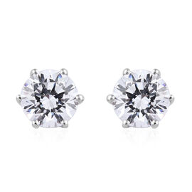 Made with Swarovski Zirconia Solitaire Earrings in Platinum Plated Sterling Silver