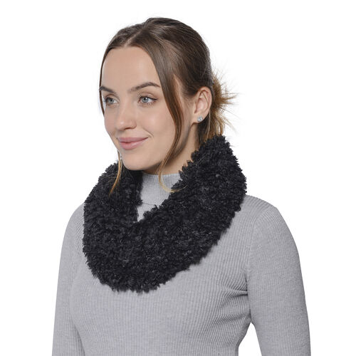 Soft and Fluffy Faux Fur Infinity Scarf - (Size:20x40cm) - Black