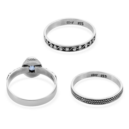 Royal Bali Collection - Set of 3 Swiss Blue Topaz Ring in Sterling Silver 1.53 Ct, Silver wt 6.94 Gms