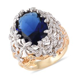 Simulated Blue Sapphire (Ovl), Simulated Diamond Floral Ring in Silver and Gold Tone