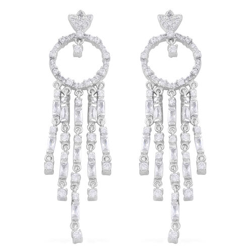 Limited Edition - Signature Collection - ELANZA AAA Simulated White Diamond (Bgt) Multi Drop Earrings (with Push Back) in Rhodium Plated Sterling Silver.Silver Wt 13.00 Gms