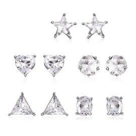 5 Piece Set - Simulated Diamond Stud Earrings