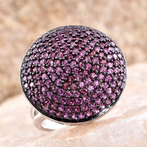Red Carpet Collection-Rhodolite Garnet (Rnd) Cluster Ring in Black Rhodium and Platinum Overlay Sterling Silver 3.250 Ct.Gemstone Studded 166 Pcs. Silver wt. 7.64 Gms.