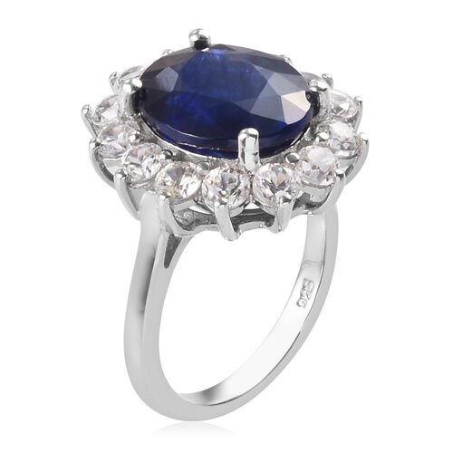 Masoala Sapphire and Natural Cambodian Zircon Ring (7.2ct Ovl) in Platinum Overlay Sterling Silver 9.80 Ct.