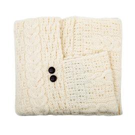 ARAN 100% Pure New Wool Irish Poncho in Cream Colour (Size One)