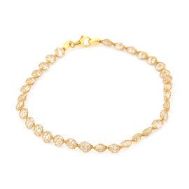 Italian Made - 9K Yellow Gold Tuscan Crochet Cubic Zirconia Bracelet (Size 7.5)
