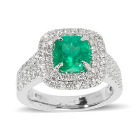 Signature Collection -950 Platinum AAAAA Boyaca Colombian Emerald, Diamond (SI & I1-G-H) Ring 3.350 Ct, Platinum wt 11.00 Gms Size N