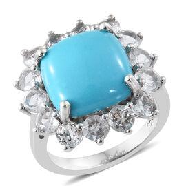 Arizona Sleeping Beauty Turquoise (Cush), White Topaz Cluster Ring in Platinum Overlay Sterling Silv