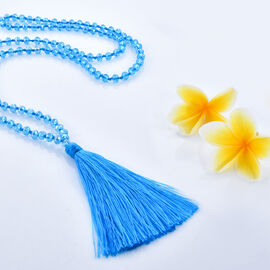 Blue Colour Beads Necklace with Tassel Size 32 Inch
