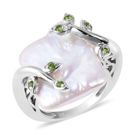 Baroque Keshi Pearl and Russian Diopside Leafy Vine Ring in Rhodium Overlay Sterling Silver