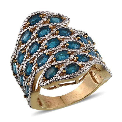 Malgache Neon Apatite (Ovl), Diamond Ring in 14K Gold Overlay Sterling Silver 4.520 Ct.