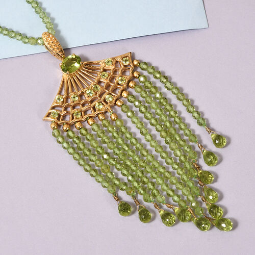 Hebei Peridot Necklace (Size 18) in 14K Gold Overlay Sterling Silver 127.50 Ct, Silver wt 6.00 Gms