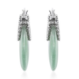 Green Aventurine Hoop Earrings (with Clasp) 36.50 Ct.