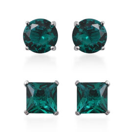 Set of 2 - ELANZA Simulated Emerald (Rnd and Sqr) Stud Earrings (with Push Back) in Rhodium Overlay Sterling Silver