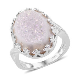 Pearl Shimmer Drusy Quartz (Ovl 18x13 mm) Ring in Sterling Silver 8.000 Ct.