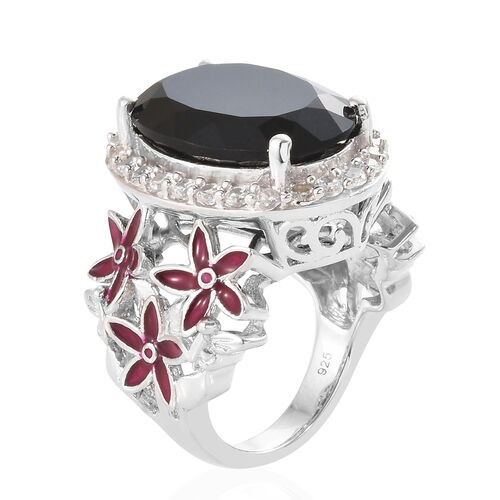 Black Tourmaline (Ovl 12.15 Ct), Natural Cambodian Zircon Ring in Platinum Overlay with Enameled Sterling Silver 13.500 Ct, Silver wt 8.67 Gms.