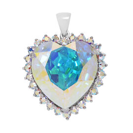 J Francis Crystal from Swarovski - AB Crystal (Hrt 28mm) Heart Pendant in Platinum Overlay Sterling Silver, Silver wt 7.89 Gms.
