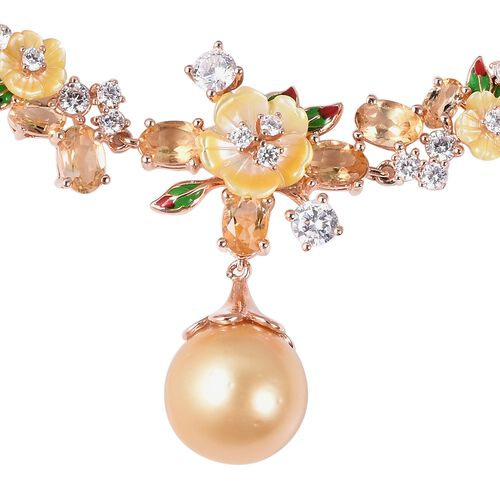 Jardin Collection - Golden South Sea Pearl, Yellow Mother of Pearl and Multi Gemstone Enameled Bracelet (Size 7 with 1 inch Extender) in Rose Gold Overlay Sterling Silver, Silver wt 10.0 Gms