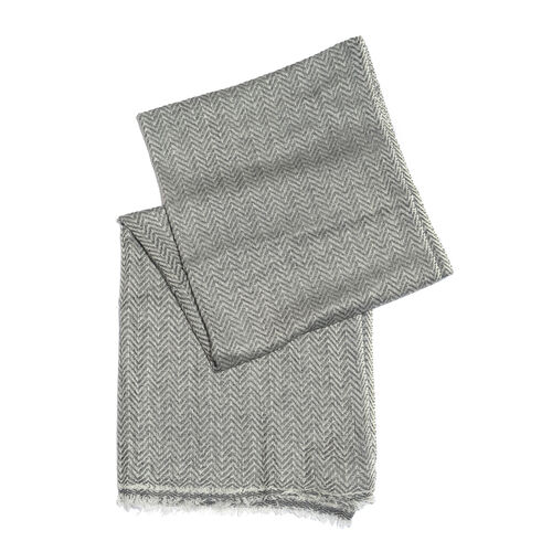 Italian Designer Cashmere Wool Blend Zigzag Pattern Grey and Off White Scarf (Size 200X60 Cm)