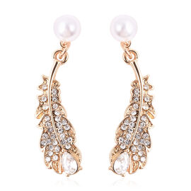 Simulated Pearl (Rnd), Simulated Diamond and White Austrian Crystal Feather Earrings (with Push Back