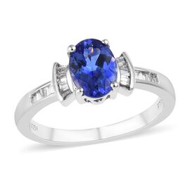 RHAPSODY 1.15 Ct AAAA Tanzanite and Diamond Ballerina Design Ring in 950 Platinum