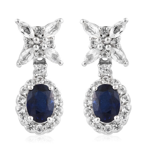 3.25 Ct Blue Spinel and White Topaz Drop Earrings in Platinum Plated Sterling Silver