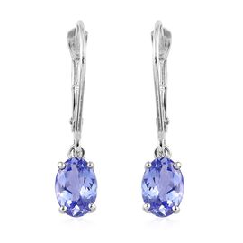 9K White Gold AA Tanzanite Lever Back Earrings 1.50 Ct.
