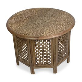 Super Auction - NAKKASHI - Hand Carved Solid Mango Wood Round Table in Natural Finish (Size 45x70 Cm