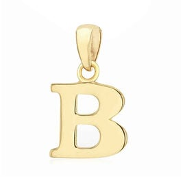 9K Yellow Gold Initial B Pendant