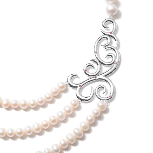 LucyQ Swirl Collection - Freshwater White Pearl and African Ruby Swirl Design Three Strand Necklace (Size 16 with 4 inch Extender) in Rhodium Overlay Sterling Silver