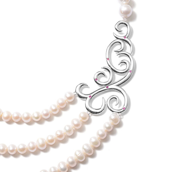 LucyQ Swirl Collection - Freshwater White Pearl and African Ruby (FF) Swirl Design Three Strand Necklace (Size 16 with 4 inch Extender) in Rhodium Overlay Sterling Silver