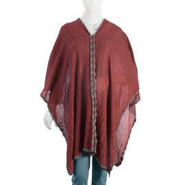 Wine Red Colour Crochet Work Poncho (Size 92x52 Cm)