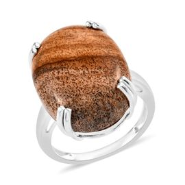 Picture Jasper (Oct 20x15 mm) Ring in Sterling Silver 13.50 Ct.