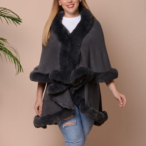 Solid Grey Kimono with Faux Fur Trim (Size 125x79cm)