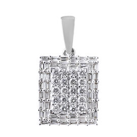 ILIANA 1 Carat Diamond Cluster Pendant in 18K White Gold 4.1 Grams IGI Certified SI GH